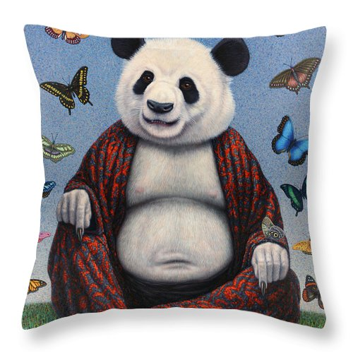 Panda Throw Pillow featuring the painting Panda Buddha by James W Johnson