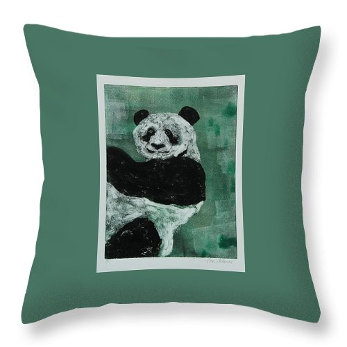 Panda Throw Pillow featuring the mixed media Panda - Monium by Cori Solomon