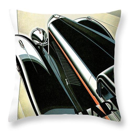 Advertisement Throw Pillow featuring the digital art Panhard Car Advertisement by World Art Prints And Designs