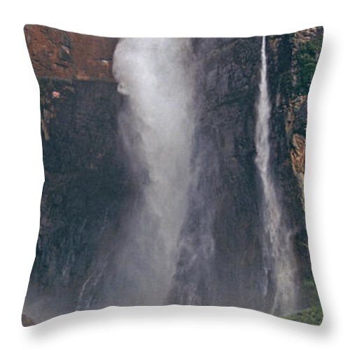 Venezuela Throw Pillow featuring the photograph Panorama Angel Falls In Canaima National Park Venezuela by Dave Welling