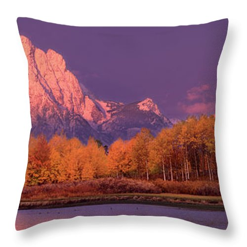 America Throw Pillow featuring the photograph Panorama Dawn Lights Up Mount Moran In Grand Tetons National Park by Dave Welling