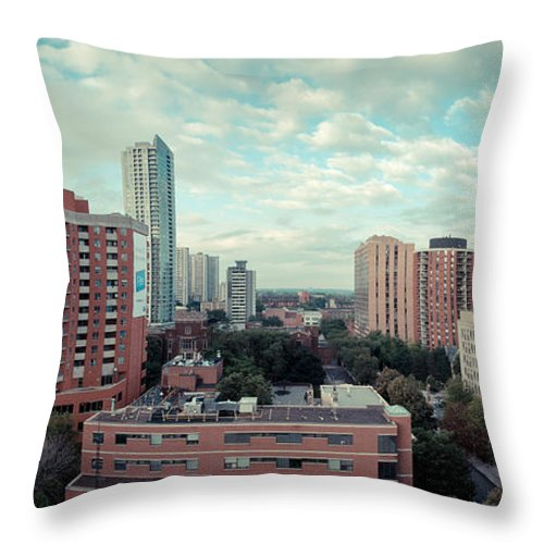 Landscape Throw Pillow featuring the photograph Panorama-dt-toronto Looking East by Les Lorek