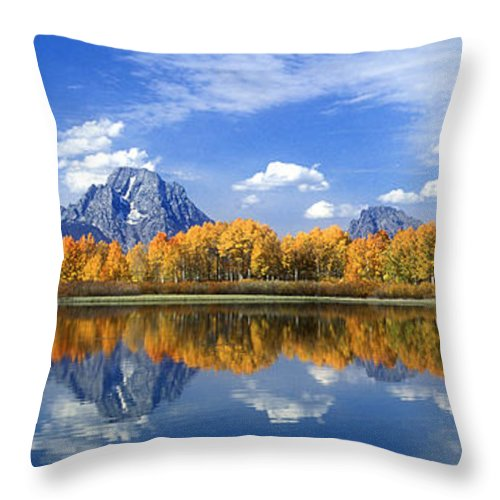 America Throw Pillow featuring the photograph Panorama Fall Morning At Oxbow Bend Grand Tetons National Park by Dave Welling