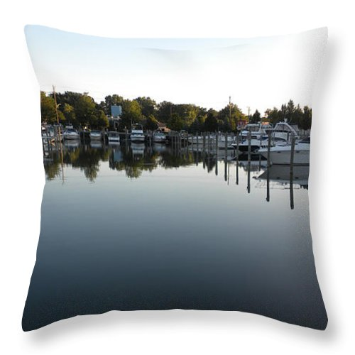 Transportation Throw Pillow featuring the photograph Panorama Harbor 02 by Thomas Woolworth