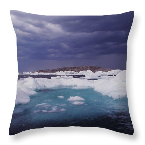 North America Throw Pillow featuring the photograph Panorama Ice Floes In A Stormy Sea Wager Bay Canada by Dave Welling