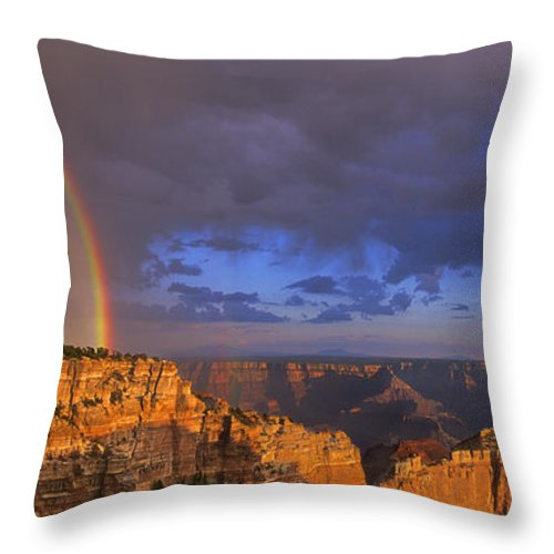 North America Throw Pillow featuring the photograph Panorama Rainbow Over Cape Royal North Rim Grand Canyon National Park by Dave Welling