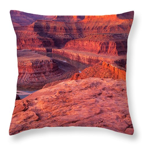 Dead Horse Point Throw Pillow featuring the photograph Panorama Sunrise At Dead Horse Point Utah by Dave Welling