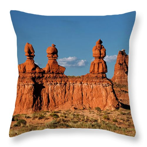 North America Throw Pillow featuring the photograph Panorama Three Sisters Hoodoo Goblin Valley Utah by Dave Welling