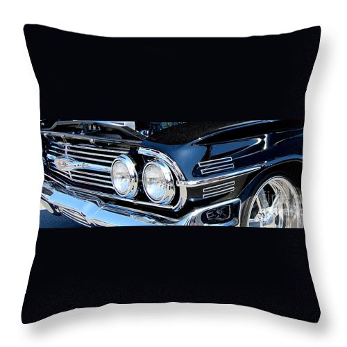 American Muscle Car Throw Pillow featuring the photograph panoramic black Impala by Mark Spearman