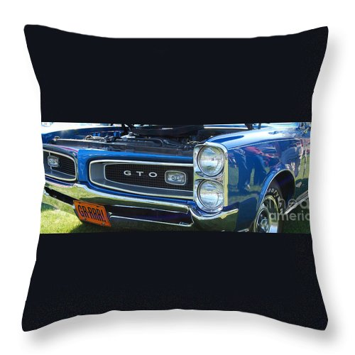 American Muscle Car Throw Pillow featuring the photograph panoramic blue GTO by Mark Spearman