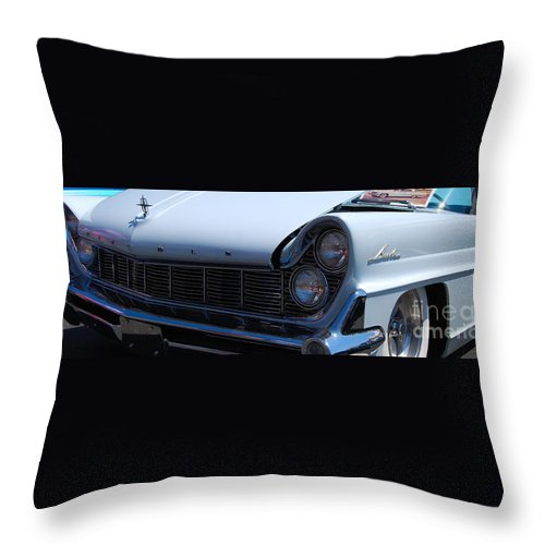 Classic American Car Throw Pillow featuring the photograph panoramic blue Lincoln by Mark Spearman