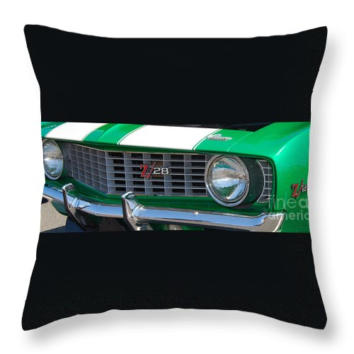 American Muscle Car Throw Pillow featuring the photograph panoramic green Z28 by Mark Spearman