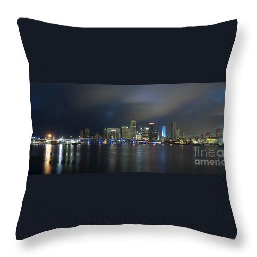 America Throw Pillow featuring the photograph Panoramic Of Miami Florida by Anthony Totah