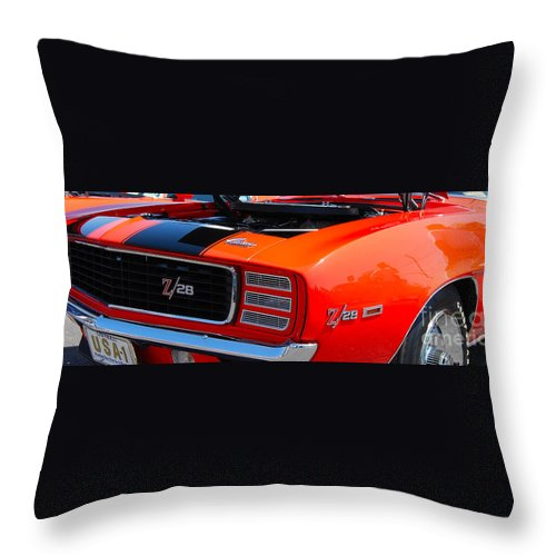 American Muscle Car Throw Pillow featuring the photograph panoramic orange Z28 Camaro by Mark Spearman