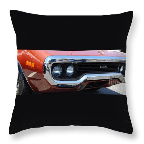 American Muscle Car Throw Pillow featuring the photograph panoramic Plymouth GTX by Mark Spearman