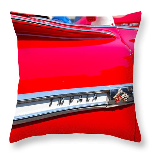 American Muscle Car Throw Pillow featuring the photograph panoramic red Impala by Mark Spearman