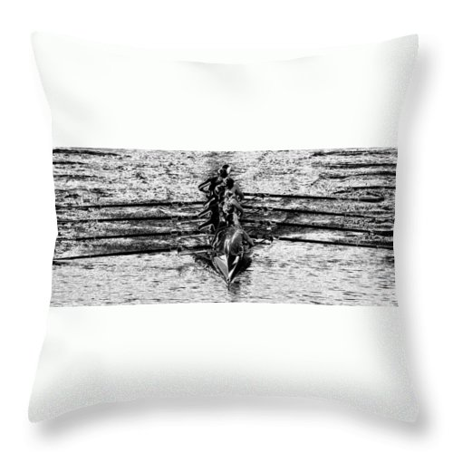 Panoramic Photography Throw Pillow featuring the photograph Panoramic Rowing by David Lee Thompson
