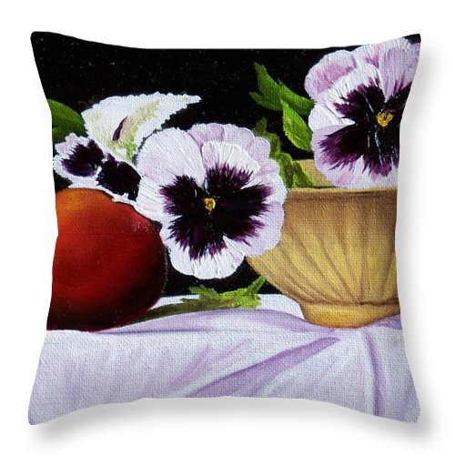 Pansies Throw Pillow featuring the painting Pansies In Bowl by Paul Tremlin