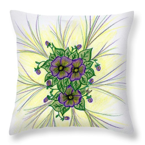 Pansy Throw Pillow featuring the drawing Pansies by Susan Turner Soulis