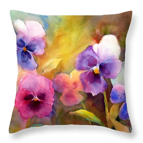 Watercolor Throw Pillow featuring the painting Pansy Party by Wendy Westlake