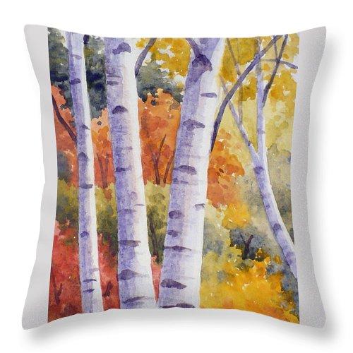 Birch Throw Pillow featuring the painting Paper Birches In Autumn by Janet Zeh