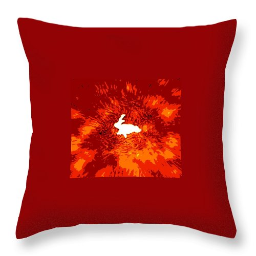Rug Throw Pillow featuring the photograph Paper Bunny Rabbit by Pamela Hyde Wilson