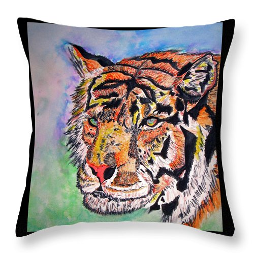 Abstract Throw Pillow featuring the painting Paradise Dream by Crystal Hubbard