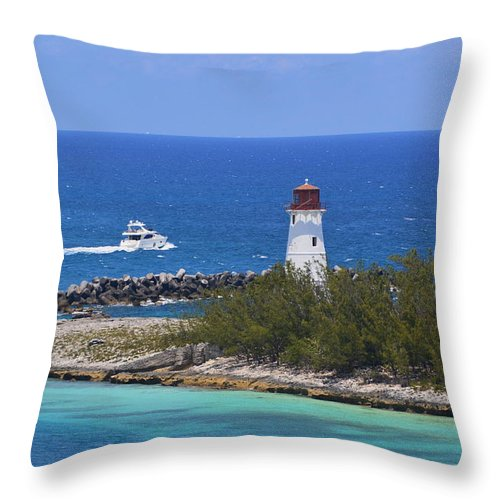 Paradise Throw Pillow featuring the photograph Paradise Island Lighthouse by Richard Booth