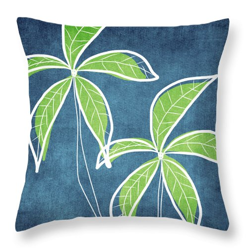 Palm Trees Throw Pillow featuring the painting Paradise Palm Trees by Linda Woods