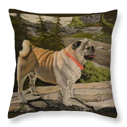 Dog Throw Pillow featuring the pastel Paradise Pug by John Huntsman