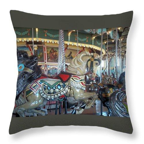 Carousel Throw Pillow featuring the photograph Paragon Carousel Nantasket Beach by Barbara McDevitt