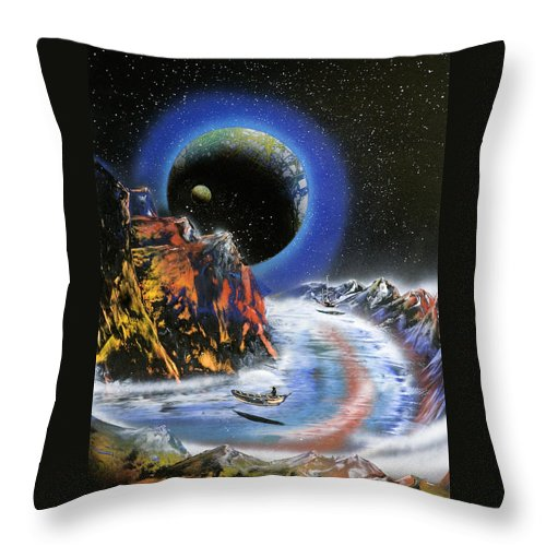 Throw Pillow featuring the painting Parallel World by Ronny Or Haklay
