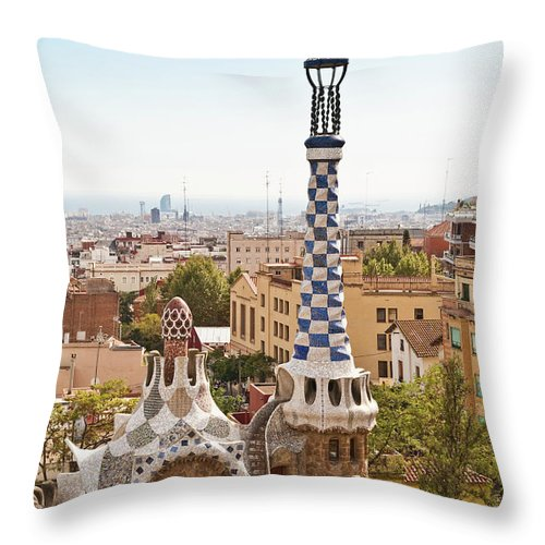 Antoni Gaudí Throw Pillow featuring the photograph Parc Guell By Antoni Gaudi, Barcelona by John Harper