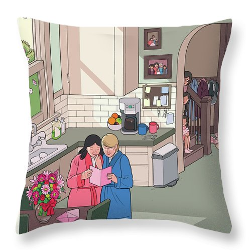 Women Throw Pillow featuring the painting Mothers' Day by Chris Ware