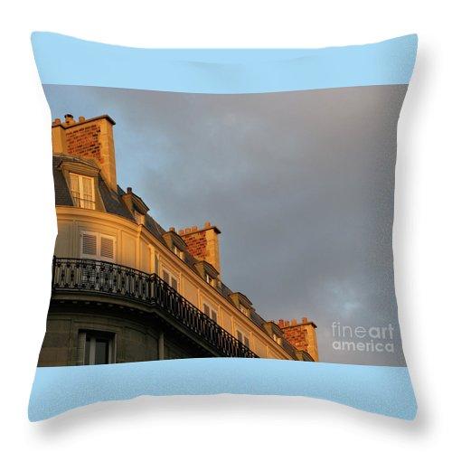 Paris Throw Pillow featuring the photograph Paris At Sunset by Ann Horn