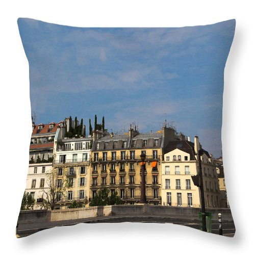 Paris Apartment Buildings Throw Pillow featuring the photograph Paris City Life by Anita Miller