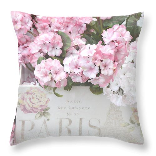 Shabby Chic Throw Pillow featuring the photograph Shabby Chic Paris Pink Flowers, Parisian Shabby Chic Paris Flower Box - Paris Floral Decor by Kathy Fornal