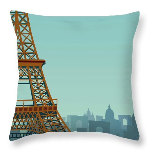 Built Structure Throw Pillow featuring the digital art Paris by Drmakkoy