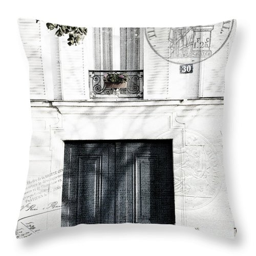 Evie Carrier Throw Pillow featuring the photograph Paris Fiction by Evie Carrier