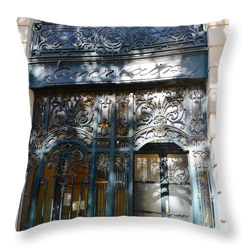 Guerlain Cosmetic Storefront In Paris Throw Pillow Featuring The Photograph  Paris Guerlain Storefront Boutique   Paris