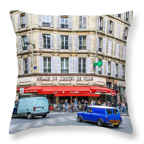 Resturante Throw Pillow featuring the photograph Paris Resturante by Mehul Dave