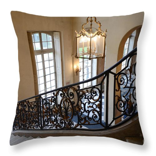 Rodin Museum Throw Pillow featuring the photograph Paris Rodin Museum Staircase - Rodin Museum Entry Staircase Chandelier Architecture - Musee Rodin by Kathy Fornal