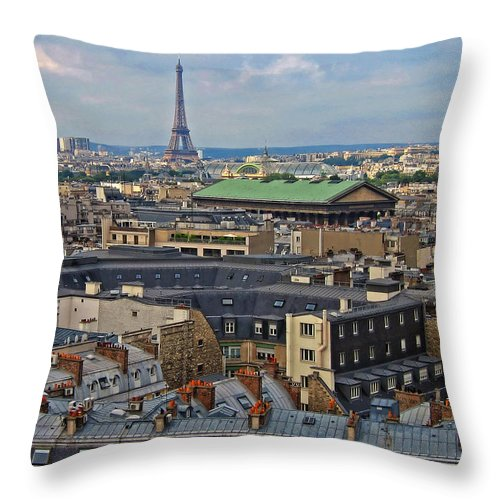 Paris Throw Pillow featuring the photograph Paris Rooftops by Dave Mills
