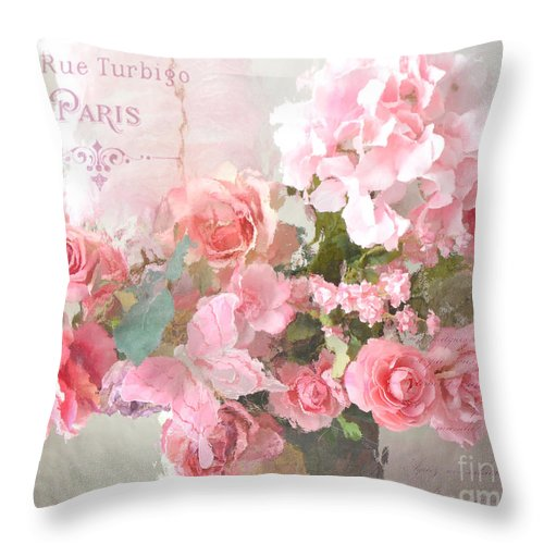 Roses Throw Pillow featuring the photograph Paris Shabby Chic Dreamy Pink Peach Impressionistic Romantic Cottage Chic Paris Flower Photography by Kathy Fornal