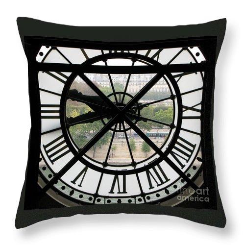 Clock Throw Pillow featuring the photograph Paris Time by Ann Horn