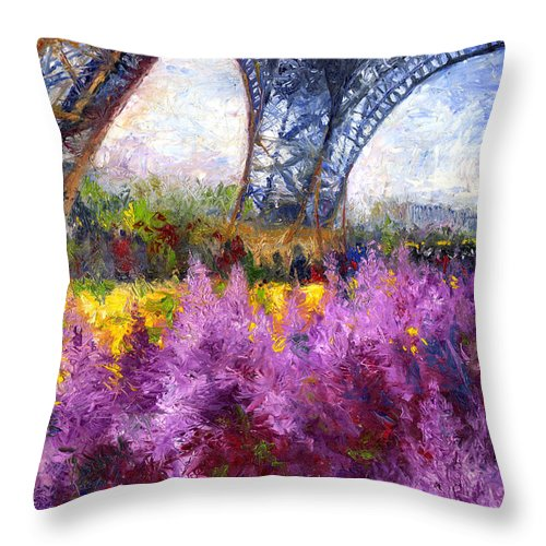 Oil Throw Pillow featuring the painting Paris Tour Eiffel 01 by Yuriy Shevchuk
