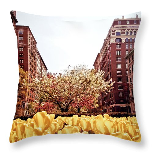 Spring Throw Pillow featuring the photograph Park Avenue In The Spring by Vivienne Gucwa