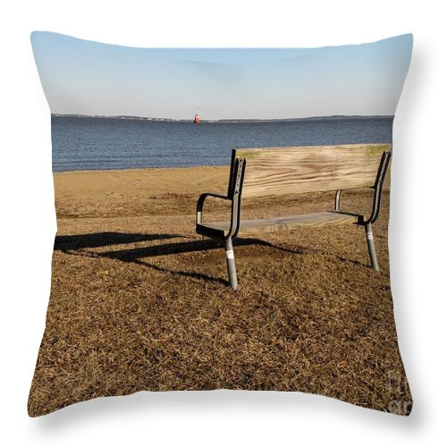 Schuminweb Throw Pillow featuring the photograph Park Bench At Sandy Point by Ben Schumin