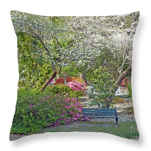 Park Throw Pillow featuring the photograph Park Bench Painting by Linda Vodzak