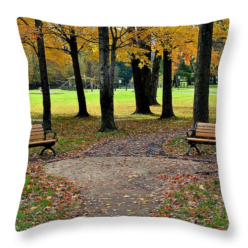 Park Throw Pillow featuring the photograph Park Bench by Frozen in Time Fine Art Photography